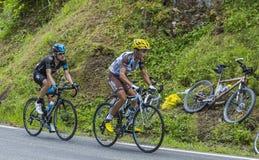 Os vencedores em Colo du Tourmalet Fotografia de Stock Royalty Free