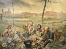 Os vendedores do giz - no meio-dia, pintando por Léon Frédéric imagem de stock