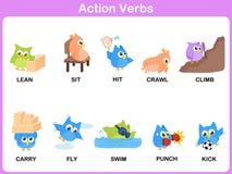 Os verbos da ação representam o dicionário (atividade) para crianças ilustração royalty free