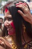 Os vermelhões jogam (khela de Sindur) durante o puja do durga Imagem de Stock Royalty Free