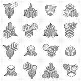 Os vetores abstratos ajustaram-se, coleção dimensional isométrica das formas ilustração do vetor