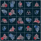 Os vetores abstratos ajustaram-se, coleção dimensional isométrica das formas ilustração stock