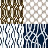 Os vetores tecidos dos testes padrões corda sem emenda ajustam, abstraem ilustrativo ilustração stock