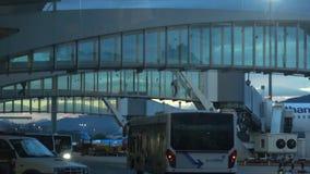 Os viajantes andam através de um jetway para travar um voo video estoque