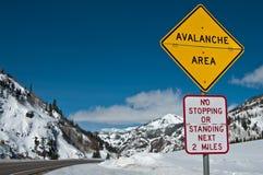 Sinal da área da avalancha Fotografia de Stock