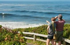 Os viajantes olham para fora ao mar na costa de Oregon Imagem de Stock