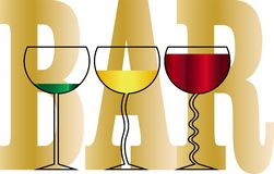 Os vidros com bebidas no fundo da barra da inscrição projetam o logotipo do negócio Fotos de Stock Royalty Free
