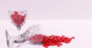 Os vidros completamente do coração deram forma a doces, dia de Valentim, 3D rendido Imagens de Stock Royalty Free