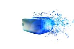 Os vidros da realidade virtual são dispersados por pixéis ou por vidros de VR com efeitos visuais A tecnologia do presente e Imagem de Stock