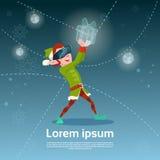 Os vidros de Santa Helper Green Elf Wear Digital guardam o ano novo feliz do Feliz Natal atual virtual Fotos de Stock