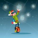 Os vidros de Santa Helper Green Elf Wear Digital guardam o ano novo feliz do Feliz Natal atual virtual Imagens de Stock