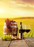 Os vidros de vinho tinto serviram nas pranchas de madeira, vinhedo no fundo Fotografia de Stock Royalty Free