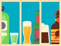 Os vidros diferentes bebidos cópia da cerveja pilsen da garrafa do cocktail das bebidas dos cartões das bebidas do álcool vector  ilustração stock