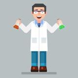 Os vidros e o laboratório vestindo do caráter do cientista revestem com os produtos químicos ilustração stock