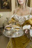 Os vidros encheram-se com o vinho vermelho em uma bandeja bonita. foto de stock
