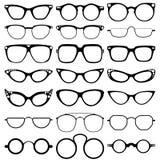 Os vidros modelam ícones, homem, quadros das mulheres Óculos de sol, monóculos no branco Fotos de Stock Royalty Free