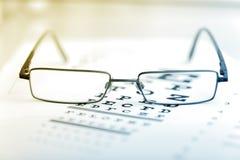 Os vidros modernos pretos claros em um olho observam o teste Imagens de Stock