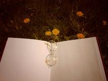 Os vidros que colocam no livro aberto com jardim florescem no fundo fotos de stock royalty free