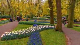 Os visitantes estão andando em jardins holandeses de Keukenhof da mola Foto do curso fotografia de stock royalty free