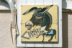 Osła znak, Santorini Zdjęcia Stock