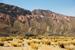 Osadowe warstwy Jujuy, Argentyna - fotografia stock