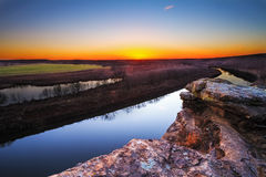 Osage River at Twilight. A view from a bluff on Monegaw Springs, Missouri overlooking the Osage River at dusk stock images