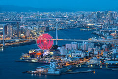 Osaka bay. At dusk, Osaka Japan Royalty Free Stock Photos