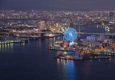 Osaka bay at dusk View on Cosmo Tower Osaka Japan stock photography