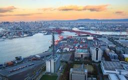 Osaka Bay, in Osaka Japan Industries locate around Royalty Free Stock Photo
