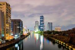 Osaka biznesowy park przy nocą obrazy stock