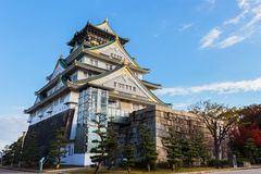 Osaka castle in Autumn. OSAKA, JAPAN - NOVEMBER 18: Osaka Castle in Osaka, Japan on November 18, 2013. One of Japan's most famous and played a major role in the Royalty Free Stock Images
