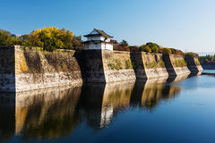 Osaka castle with autumn colors Stock Photography