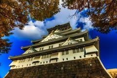 Osaka Castle. In Osaka with autumn leaves, Japan, landmark of Unesco Royalty Free Stock Photo