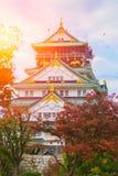 Osaka Castle in Autumn red maple blue sky sun light. stock image