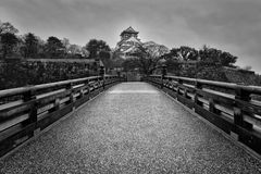 Osaka Castle. Black and white of Osaka Castle on a gloomy morning Stock Photos