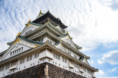 Osaka castle with blue sky Royalty Free Stock Images