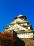 Osaka Castle and blue sky in Japan Royalty Free Stock Photography