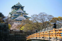 Osaka Castle with cherry blossom Stock Image