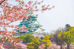Osaka castle with cherry blossom. Japanese spring beautiful scen Stock Photo