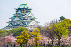 Osaka castle with cherry blossom. Japanese spring beautiful scen Royalty Free Stock Images