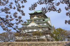 Osaka castle and cherry blossom Royalty Free Stock Photos