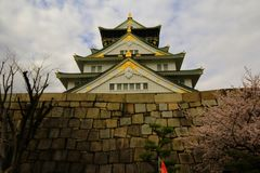 Osaka Castle and cherry blossom in spring, Osaka, Japan. stock images