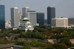 Osaka castle and city Royalty Free Stock Photo
