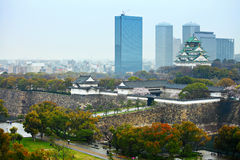 Osaka castle with cityscape Stock Photo
