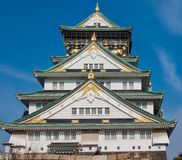 Osaka Castle. Close up view, looking up at Osaka Castle Royalty Free Stock Photo