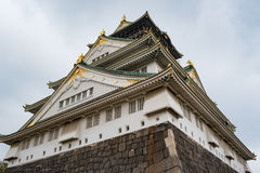 Osaka castle in cloudy sky before the rain fall down Royalty Free Stock Image