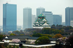 Osaka castle in commercial district Royalty Free Stock Photography