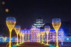 Osaka Castle at dark night, Osaka, Japan stock image