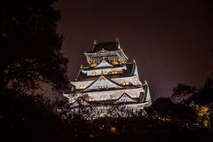 Osaka Castle at dark night, Osaka, Japan stock photography