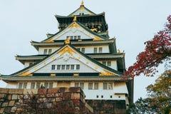 Osaka Castle in de herfstseizoen, één van het beroemdste oriëntatiepunt stock afbeelding